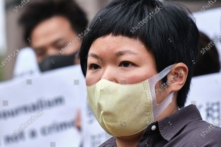 Bao Choy-yuk Ling, a freelance journalist who worked with Hong Kong's public broadcaster RTHK (Radio Television Hong Kong) on investigations into the July 21 Yuen Long mob attack, arrives wearing a facemask at Fanling Magistrates' Court for a hearing. Choy was arrested for making a false statement related to her investigation into suspected persons involved in the Yuen Long mob attack for a RTHK TV documentary.