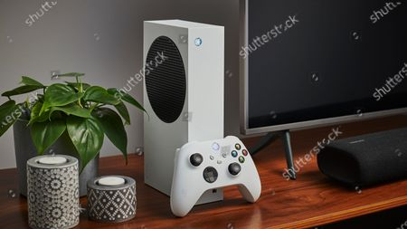 Living room with a Microsoft Xbox Series S home video game console alongside a television and soundbar, taken on October 27, 2020. (Photo by Phil Barker/Future Publishing)