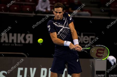 Vasek Pospisil of Canada in action during his second round match against Jan-Lennard Struff of Germany at the Sofia Open ATP 250 tennis tournament in Sofia, Bulgaria, 10 November 2020.