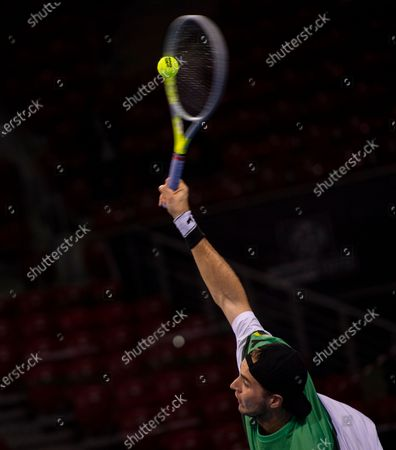 Jan-Lennard Struff of Germany in action during his second round match against Vasek Pospisil of Canada at the Sofia Open ATP 250 tennis tournament in Sofia, Bulgaria, 10 November 2020.