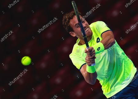 Roberto Carballes Baena of Spain in action during his first round match against Richard Gasquet of France at the Sofia Open ATP 250 tennis tournament in Sofia, Bulgaria, 10 November 2020.