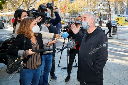 Chef Ferran Adria talks to media as he arrives to attend a meeting with well-known chefs and entrepreneurs of the sector in Barcelona, Spain, 10 November 2020, in order to analyze how the coronavirus pandemic is affecting their sector, as restrictions in many Spanish regions order the closure of bars and restaurants.