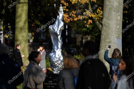A statue by artist Maggi Hambling to honour Mary Wollstonecraft, the 'mother of feminism', is unveiled in Newington Green, North London.