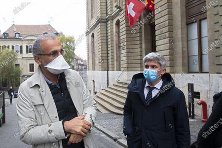 Stock Picture of Swiss leading Islamic scholar Tariq Ramadan (L) with his Swiss lawyer Guerric Canonica leaves  the Geneva's courthouse after a first hearing with Geneva's prosecutor as part of an investigation over sexual assault, in Geneva, Switzerland, 10 November 2020. This is the first time the Islamologist leaves France since he was indicted in Paris on February 2018. His judicial supervision, which prohibited him from travelling outside France, was amended last month to allow him to take part in the hearing in Geneva.