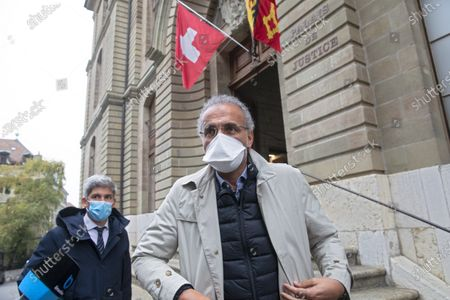 Swiss leading Islamic scholar Tariq Ramadan (R) with his Swiss lawyer Guerric Canonica leaves  the Geneva's courthouse after a first hearing with Geneva's prosecutor as part of an investigation over sexual assault, in Geneva, Switzerland, 10 November 2020. This is the first time the Islamologist leaves France since he was indicted in Paris on February 2018. His judicial supervision, which prohibited him from travelling outside France, was amended last month to allow him to take part in the hearing in Geneva.