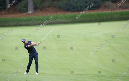Henrik Stenson of Sweden hits from the fairway on the thirteenth hole during the second practice round of the 2020 Masters Tournament at the Augusta National Golf Club in Augusta, Georgia, USA, 10 November 2020. After being delayed seven months by the coronavirus pandemic, the 2020 Masters Tournament is being held without patrons 12 November through 15 November.