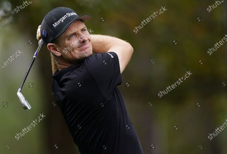 Justin Rose of England hits his tee shot on the fourth hole during the second practice round of the 2020 Masters Tournament at the Augusta National Golf Club in Augusta, Georgia, USA, 10 November 2020. After being delayed seven months by the coronavirus pandemic, the 2020 Masters Tournament is being held without patrons 12 November through 15 November.
