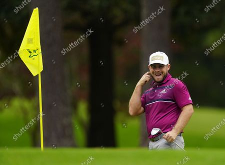 Tyrrell Hatton of England reacts on the third hole during the second practice round of the 2020 Masters Tournament at the Augusta National Golf Club in Augusta, Georgia, USA, 10 November 2020. After being delayed seven months by the coronavirus pandemic, the 2020 Masters Tournament is being held without patrons 12 November through 15 November.