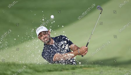 Stock Picture of Charl Schwartzel of South Africa hits out of a bunker on the tenth hole during the second practice round of the 2020 Masters Tournament at the Augusta National Golf Club in Augusta, Georgia, USA, 10 November 2020. After being delayed seven months by the coronavirus pandemic, the 2020 Masters Tournament is being held without patrons 12 November through 15 November.