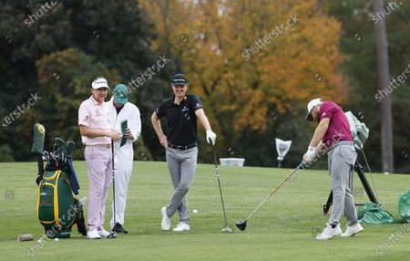 Ian Poulter of England (L), Justin Rose of England (3L) and Tyrrell Hatton of England (R) on the eighth hole during the second practice round of the 2020 Masters Tournament at the Augusta National Golf Club in Augusta, Georgia, USA, 10 November 2020. After being delayed seven months by the coronavirus pandemic, the 2020 Masters Tournament is being held without patrons 12 November through 15 November.