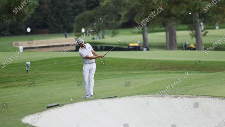 Rafa Cabrera Bello of Spain chips on the seventh hole during the second practice round of the 2020 Masters Tournament at the Augusta National Golf Club in Augusta, Georgia, USA, 10 November 2020. After being delayed seven months by the coronavirus pandemic, the 2020 Masters Tournament is being held without patrons 12 November through 15 November.