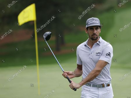 Rafa Cabrera Bello of Spain walks with a driver on the green on the eighth hole during the second practice round of the 2020 Masters Tournament at the Augusta National Golf Club in Augusta, Georgia, USA, 10 November 2020. After being delayed seven months by the coronavirus pandemic, the 2020 Masters Tournament is being held without patrons 12 November through 15 November.