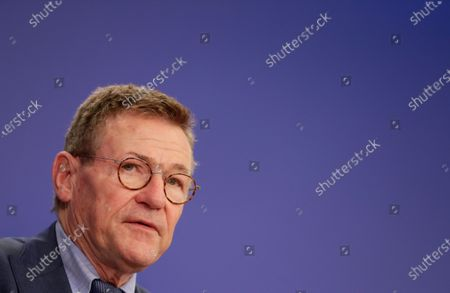 Johan Van Overtveldt, Chair of the Committee on Budgets surrounded by co-rapporteurs gives a press conference on the next MFF and Own Resources at the European Parliament in Brussels, Belgium, 10 November 2020.