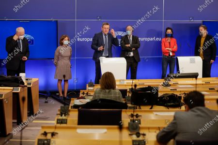 Stock Photo of Johan Van Overtveldt (3-L), Chair of the Committee on Budgets surrounded by co-rapporteurs gives a press conference on the next MFF and Own Resources at the European Parliament in Brussels, Belgium, 10 November 2020.