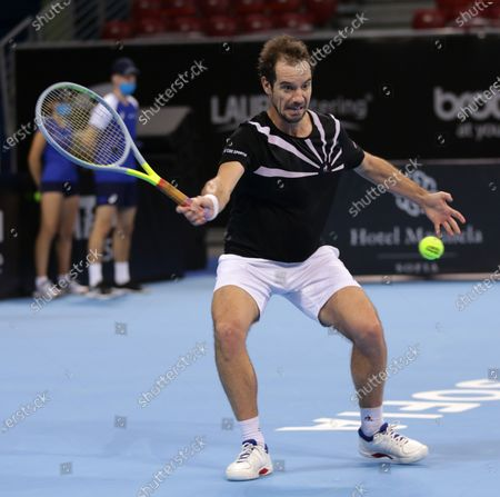 France's Richard Gasquet in action against Spain's Roberto Carballes Baena during the ATP 250 Sofia Open qualifications.