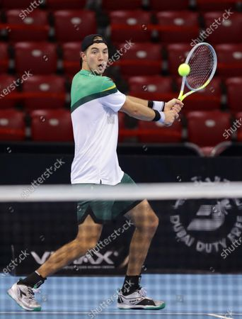 Germany's Jan-Lennard Struff in action against Canada's Vasek Pospisil during the ATP 250 Sofia Open.