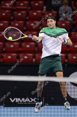 Stock Photo of Germany's Jan-Lennard Struff in action against Canada's Vasek Pospisil during the ATP 250 Sofia Open.