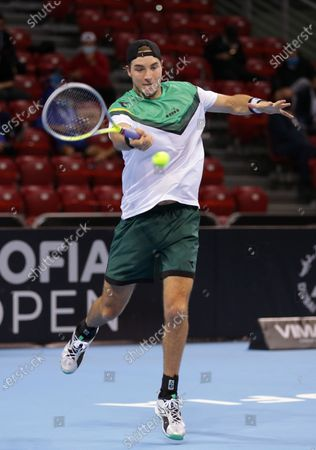 Stock Picture of Germany's Jan-Lennard Struff in action against Canada's Vasek Pospisil during the ATP 250 Sofia Open.