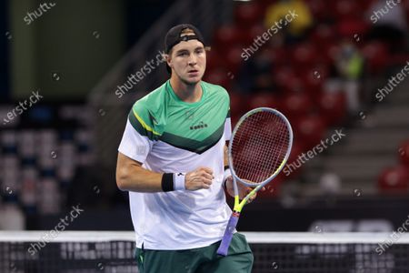 Germany's Jan-Lennard Struff reacts after winning a point against Canada's Vasek Pospisil during the ATP 250 Sofia Open.