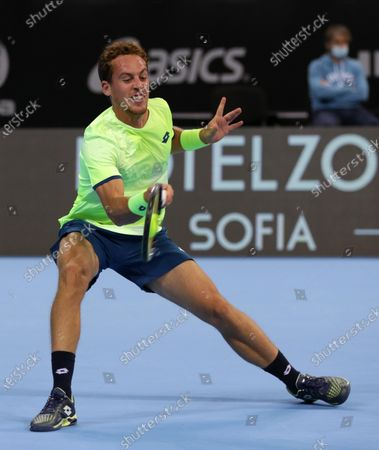 Spain's Roberto Carballes Baena in action against France's Richard Gasquet during the ATP 250 Sofia Open qualifications.