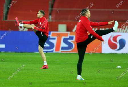 Polish national soccer team players Sebastian Szymanski (L) and Piotr Zielinski (R) during a training session in Chorzow, south Poland, 10 November 2020. Poland will face Ukraine in their international friendly soccer match on 11 November 2020.