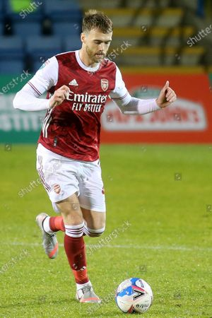 Calum Chambers of Arsenal in possession during Gillingham vs Arsenal Under-21, Papa John's Trophy Football at the MEMS Priestfield Stadium on 10th November 2020