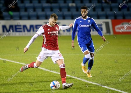 Calum Chambers of Arsenal kicks the ball upfield during Gillingham vs Arsenal Under-21, Papa John's Trophy Football at the MEMS Priestfield Stadium on 10th November 2020