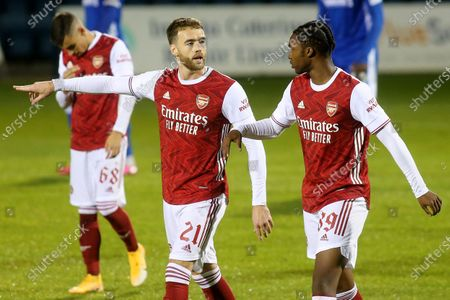 Calum Chambers of Arsenal talks tactics with Zane Monlouis during Gillingham vs Arsenal Under-21, Papa John's Trophy Football at the MEMS Priestfield Stadium on 10th November 2020
