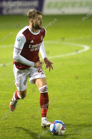 Calum Chambers of Arsenal in action during Gillingham vs Arsenal Under-21, Papa John's Trophy Football at the MEMS Priestfield Stadium on 10th November 2020