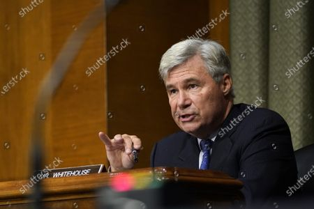Sen. Sheldon Whitehouse, D-R.I., speaks during a Senate Judiciary Committee hearing on a probe of the FBI's investigation into ties between the Trump campaign and Russia (Known as Crossfire Hurricane Investigation), on Capitol Hill in Washington, DC, USA, 10 November 2020.
