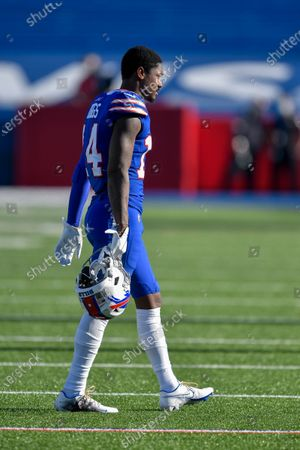 Buffalo Bills wide receiver Stefon Diggs (14) walks to the sideline during the first half of an NFL football game against the Seattle Seahawks, in Orchard Park, N.Y