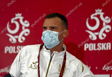 Stock Image of Ukrainian's national soccer team head coach Andriy Shevchenko in a protective mask during a press conference in Chorzow, south Poland, 10 November 2020. Ukraine will face Poland in their international friendly soccer match on 11 November 2020.