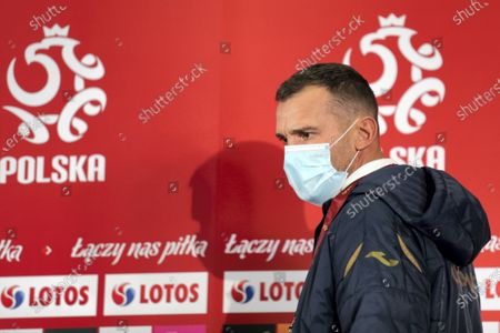 Ukrainian's national soccer team head coach Andriy Shevchenko in a protective mask during a press conference in Chorzow, south Poland, 10 November 2020. Ukraine will face Poland in their international friendly soccer match on 11 November 2020.
