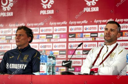 Stock Photo of Ukrainian's national soccer team head coach Andriy Shevchenko (R) and his goalkeeper Andriy Pyatov (L) during a press conference in Chorzow, south Poland, 10 November 2020. Ukraine will face Poland in their international friendly soccer match on 11 November 2020.