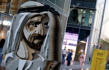 Stock Image of A portrait of Sheikh Mohammed bin Rashid Al Maktoum, Vice President and Prime Minister of the UAE and Ruler of Dubai, is on display during the Dubai Design Week at the Dubai Design District (d3) in the Gulf emirate of Dubai, United Arab Emirates, 10 November 2020. The Dubai Design District (d3) returned to host events after the lifting of the COVID-19 coronavirus lockdown, such as Dubai Design Week, which runs until 14 November 2020.