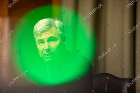 United States Senator Sheldon Whitehouse (Democrat of Rhode Island) during the Crossfire Hurricane hearing with former FBI Deputy Director Andrew McCabe, who appeared remotely, on Capitol Hill in Washington, DC.