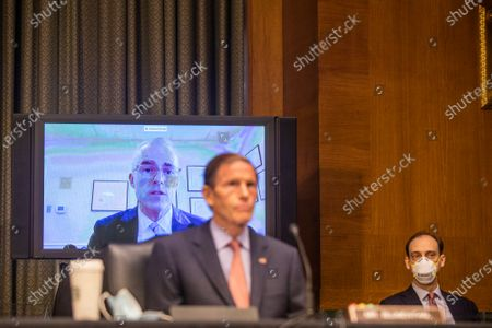 Stock Image of United States Senator Richard Blumenthal (Democrat of Connecticut) listens during the Crossfire Hurricane hearing with former FBI Deputy Director Andrew McCabe, who appeared remotely, on Capitol Hill in Washington, DC.