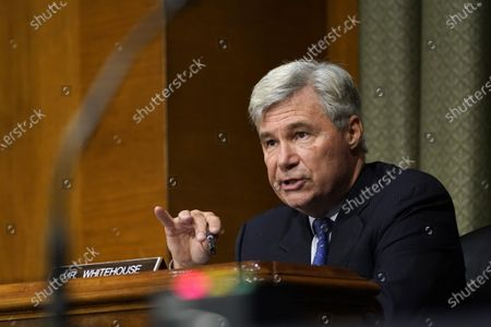 United States Senator Sheldon Whitehouse (Democrat of Rhode Island), speaks during a US Senate Judiciary Committee hearing on Capitol Hill in Washington,, on a probe of the FBI's Russia investigation.