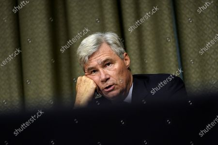 Stock Image of United States Senator Sheldon Whitehouse (Democrat of Rhode Island), speaks during a US Senate Judiciary Committee hearing on Capitol Hill in Washington,, on a probe of the FBI's Russia investigation.