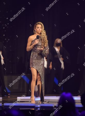 Stock Picture of Allie LaForce, Co-Host, 2020 Miss USA, Host, 2020 Miss Teen USA, on stage during the Top 16 opening at the Miss Teen USA Competition, on November 7, 2020 at Graceland in Memphis Tennessee.