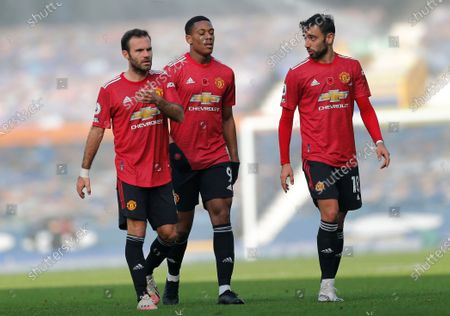 Juan Mata of Manchester United and Anthony Martial of Manchester United and Bruno Fernandes of Manchester United