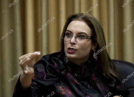 Maria Fernanda Flores de Aleman, deputy and wife of former Nicaraguan President Arnoldo Aleman, speaks during a press conference in Managua, Nicaragua, 10 November 2020. Flores stated on 10 November that the US sanctions on the former president are part of a strategy that seeks to divide the opposition and distance the PLC party from the coalition that seeks to remove Daniel Ortega from power in the 2021 elections.