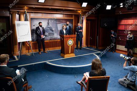 U.S. Senator Tammy Baldwin (D-WI) speaks to the press at the Democratic Senate press conference.