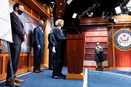 Stock Image of U.S. Senator Tammy Baldwin (D-WI) speaks to the press at the Democratic Senate press conference.