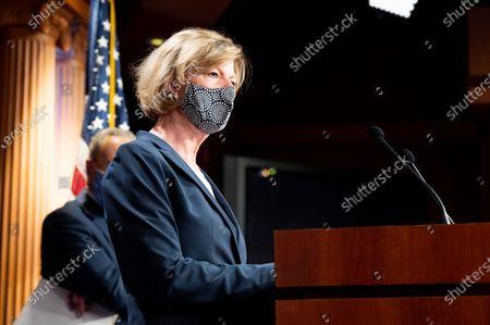 Stock Photo of U.S. Senator Tammy Baldwin (D-WI) speaks to the press at the Democratic Senate press conference.