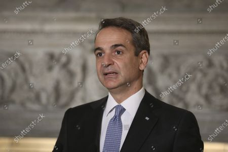 Greek Prime Minister Kyriakos Mitsotakis speaks during a joint news conference with Egyptian President Abdel Fattah al-Sisi at Maximos Mansion in Athens, . Egypt's president is meeting with Greek officials in Athens on his first visit to the southern European nation since the two countries signed a deal demarcating maritime boundaries between them in the eastern Mediterranean