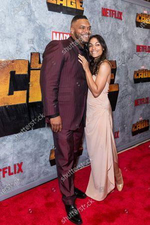 Sean Ringgold and Rosario Dawson attend the Luke Cage Season 2 premiere at The Edison Ballroom