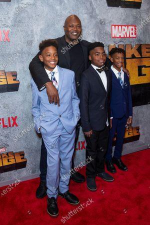 Stock Picture of Cheo Hodari Coker and kids attend the Luke Cage Season 2 premiere at The Edison Ballroom