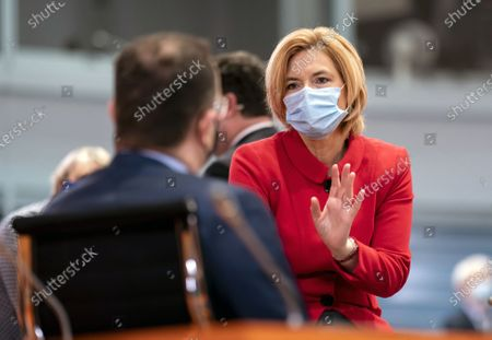 German Minister of Food and Agriculture Julia Kloeckner (CDU) wearing a face mask talks prior to the weekly meeting of the German Federal Cabinet, Berlin, Germany, 11 November 2020.