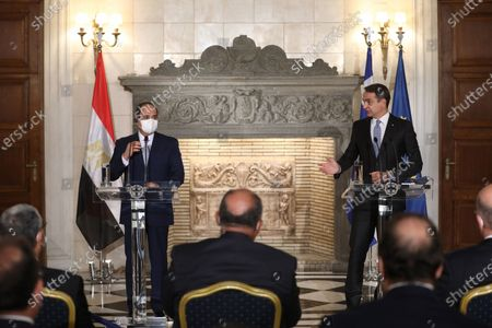 Greek Prime Minister Kyriakos Mitsotakis (R) and Egyptian President Abdel Fattah al-Sisi (L) attend a joint news conference in Maximos Mansion in Athens, Greece, 11 November 2020. Egyptian President Abdel Fattah al-Sisi is in Athens for a two-day visit.